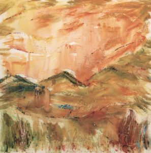 abstract mountain painting in terra cotta and green